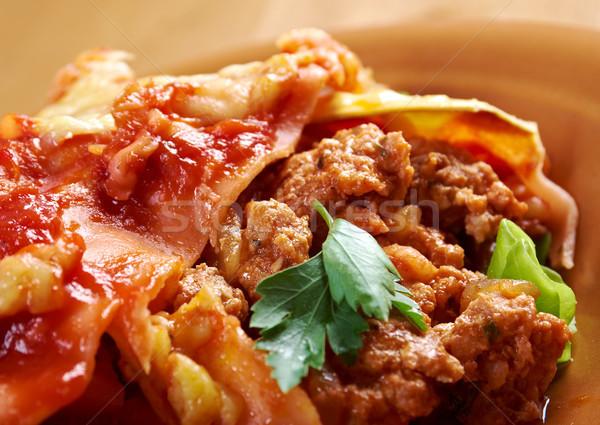イタリア語 自家製 ラザニア 肉 チーズ 食品 ストックフォト © fanfo