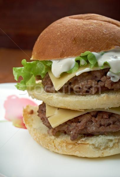 Stockfoto: Bonus · amerikaanse · hamburger · hamburger · uitverkocht · restaurant
