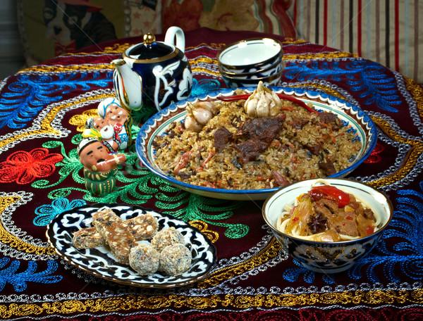 étel szett központi ázsiai konyha ázsiai főzés Stock fotó © fanfo
