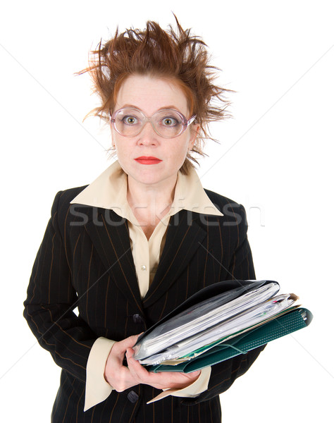 stressed crazy Businesswoman with  stack of paperwork. Stock photo © fanfo