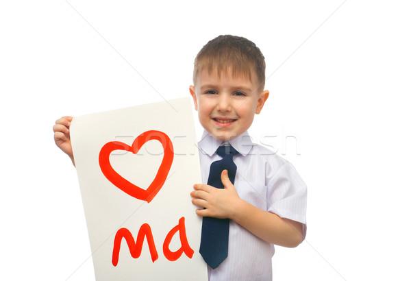 Fiú ölel rajzolt szív valentin nap izolált Stock fotó © fanfo