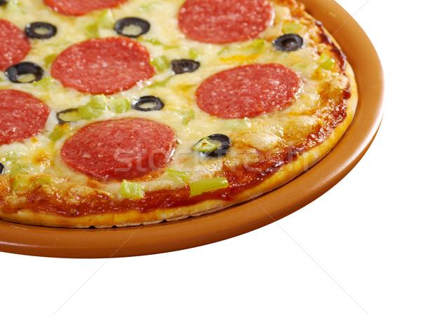ホーム ピザ ペパロニ 孤立した 白 チーズ ストックフォト © fanfo