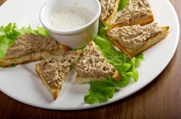 bread with delicious liver pate Stock photo © fanfo