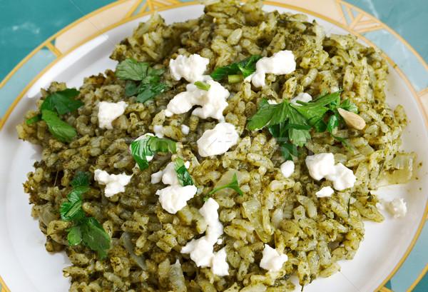 ıspanak pirinç Yunan yemek gıda diyet Stok fotoğraf © fanfo
