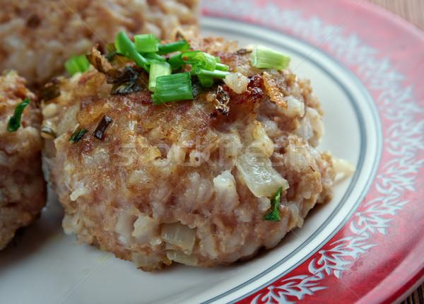 ミートボール 緑 玉葱 食品 ストックフォト © fanfo