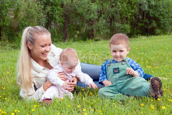 Stok fotoğraf: Anne · çocuklar · çayır · şanslı · aile · kadın