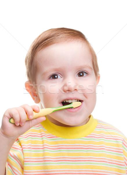 Kicsi gyermek fogászati fogkefe szemek jókedv Stock fotó © fanfo
