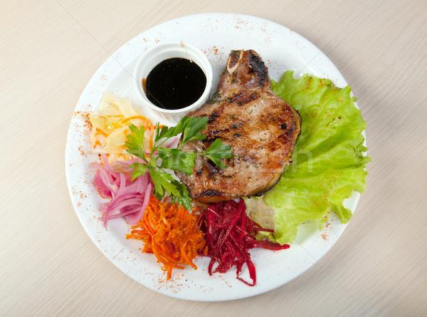 Disznóhús steak grillezett zöldségek étel hús Stock fotó © fanfo