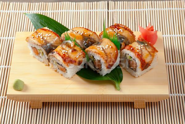 Японский суши маки традиционный копченый угорь Сток-фото © fanfo