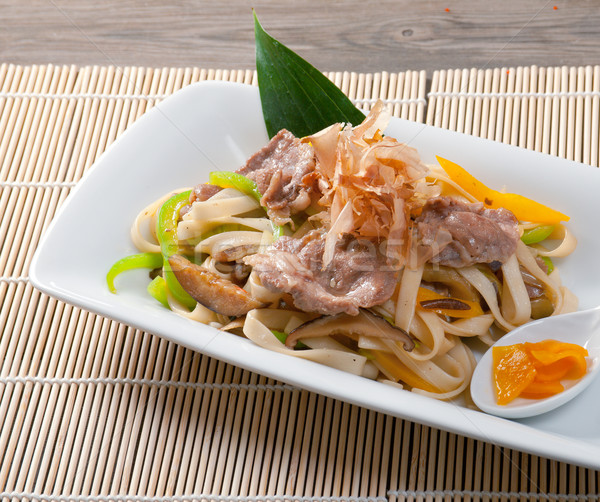 noodles with meat and eggplant Stock photo © fanfo