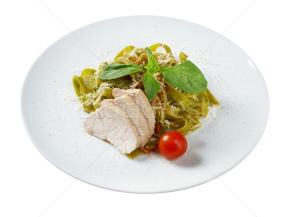 пасты тальятелле соус базилик лист Сток-фото © fanfo