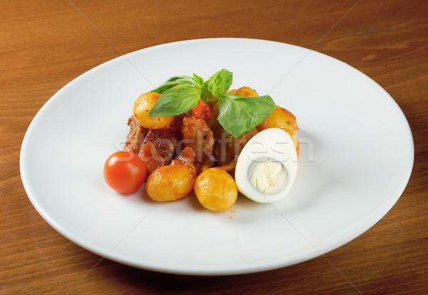 Ternera patatas restaurante rojo carne tenedor Foto stock © fanfo