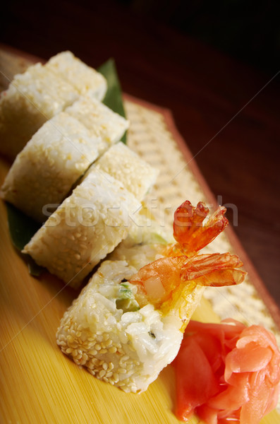 Japanese sushi made of Smoked fish  and sesam Stock photo © fanfo