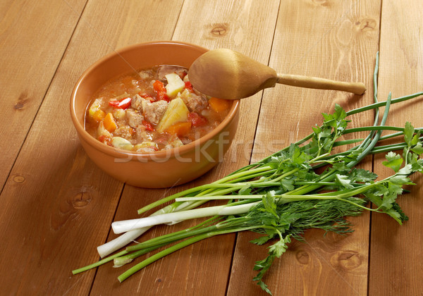 l Hungarian hot goulash soup Stock photo © fanfo