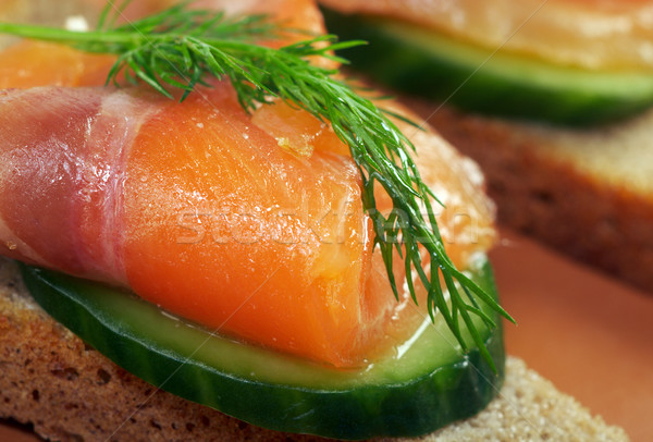 Sandwich with smoked salmon  Stock photo © fanfo