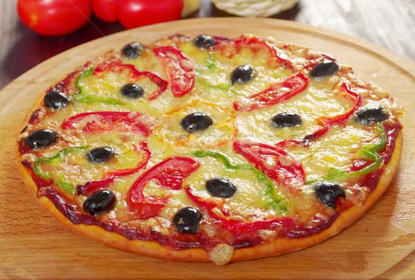 ストックフォト: ホーム · ピザ · パプリカ · オリーブ · クローズアップ · 浅い
