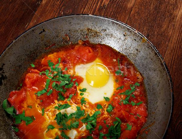 皿 卵 ソース トマト 玉葱 ストックフォト © fanfo
