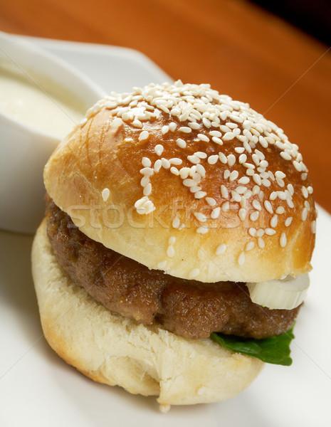 Hamburger frites françaises fromages grasse rapide Photo stock © fanfo