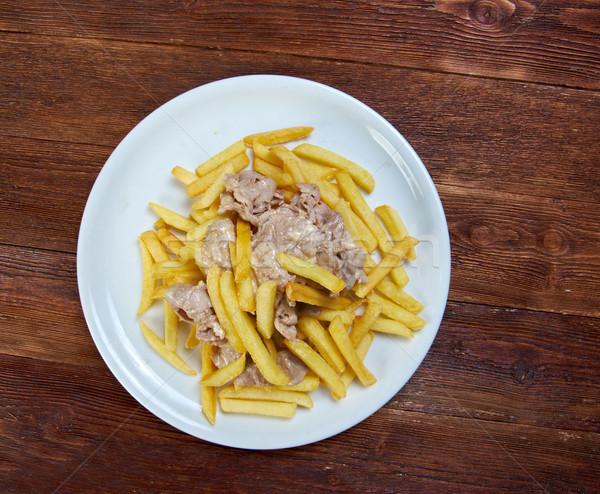 Сток-фото: ломтик · свинина · картофель · фри · продовольствие · пластина