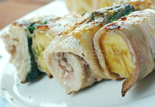 kebabs mackerel, banana and bacon Stock photo © fanfo