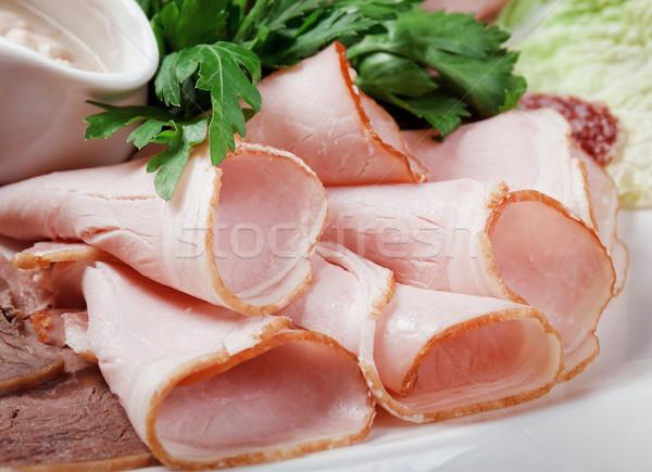 Voedsel vlees worst arrangement Italiaans Stockfoto © fanfo