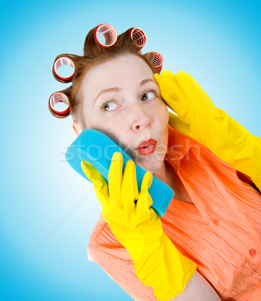 crazy housewife  maid cleaner  Stock photo © fanfo