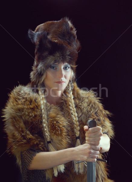 Lány kard divat haj portré fej Stock fotó © fanfo