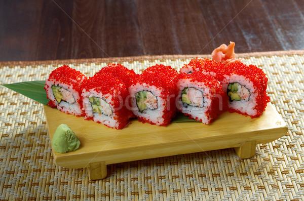 Japán szusi piros ikra hagyományos füstölt Stock fotó © fanfo