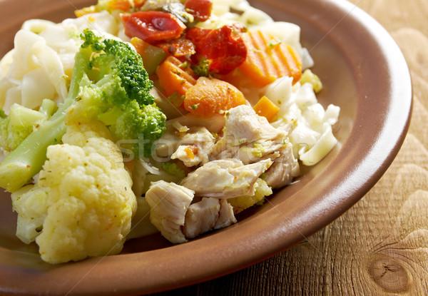 chicken  with pasta tagliatelle Stock photo © fanfo
