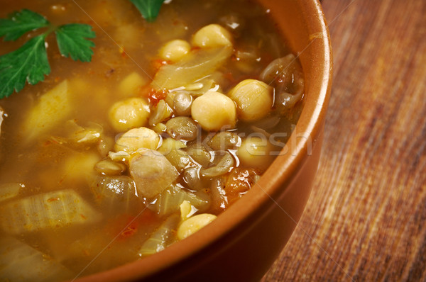 Moroccan traditional soup - harira Stock photo © fanfo