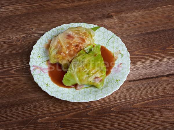 Foto stock: Recheado · repolho · molho · de · tomate · verde · jantar · arroz