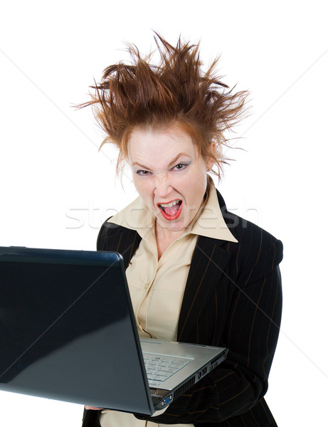 Angry crazy Businesswoman with a laptop Stock photo © fanfo