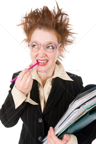 クレイジー 女性実業家 スタック 書類 巨大な ストックフォト © fanfo