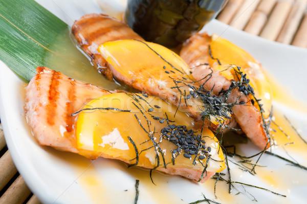 Lazac narancs mártás kínai konyha hal Stock fotó © fanfo