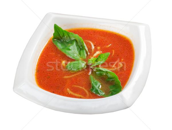 Zupa pomidorowa ceramiczne puchar włoski zupa żywności Zdjęcia stock © fanfo