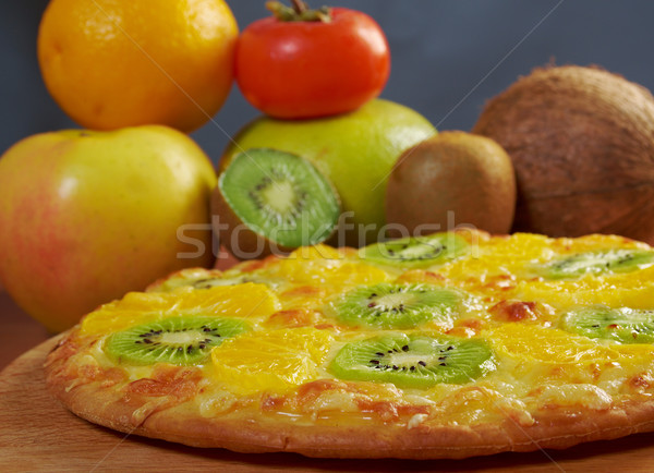 sweet pizza with fruit Stock photo © fanfo