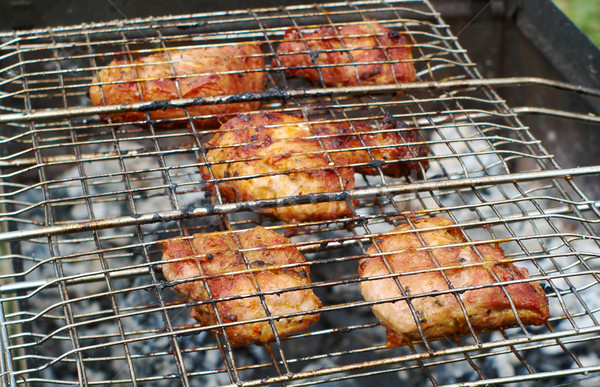 Solomillo filete preparado parrilla de la barbacoa superficial fuego Foto stock © fanfo