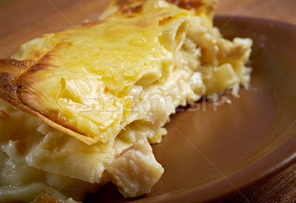 Vis lasagne keuken voedsel wijn restaurant Stockfoto © fanfo