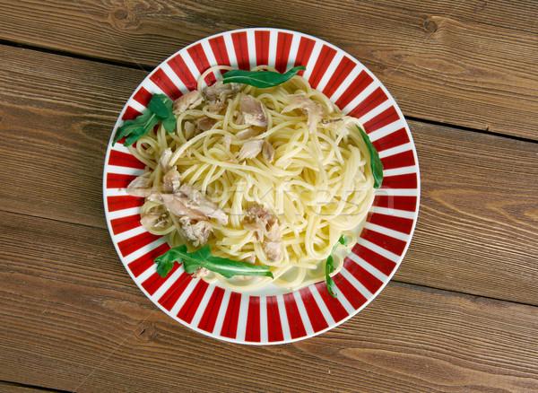 Сток-фото: спагетти · итальянский · пасты · соль · рыбы · лист