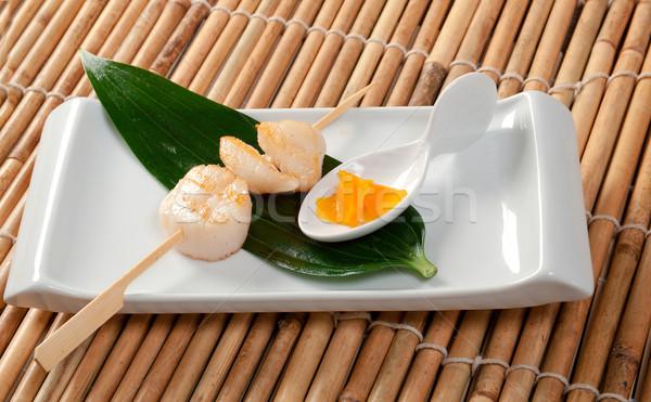 Japán háttér étterem bemutató Ázsia barbecue Stock fotó © fanfo