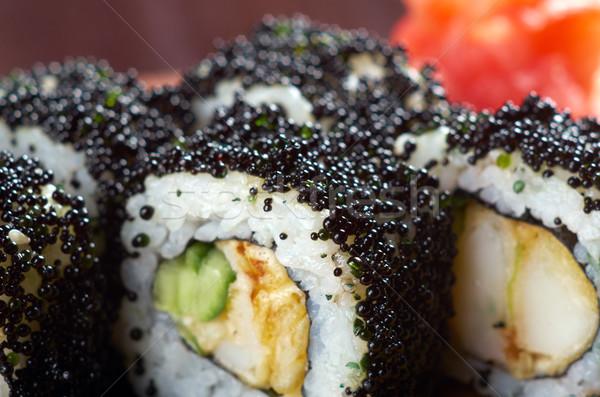 Japán szusi fekete ikra hagyományos füstölt Stock fotó © fanfo
