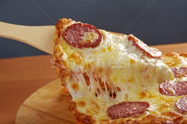 домашний пиццы пепперони ломтик сыра Сток-фото © fanfo