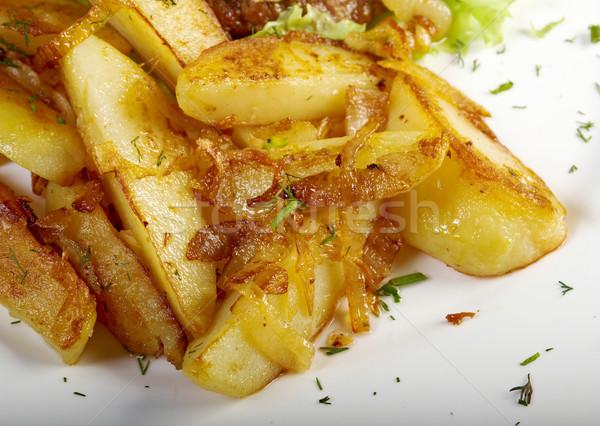 Stockfoto: Gebakken · aardappel · ondiep · plaat · huid · koken