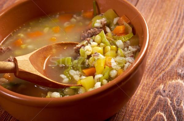 Bouillon soep vlees keuken maaltijd parel Stockfoto © fanfo