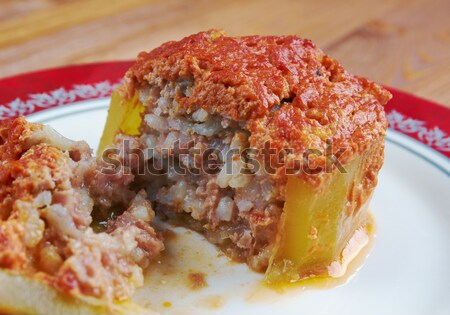 zucchini stuffed with beef and rice Stock photo © fanfo