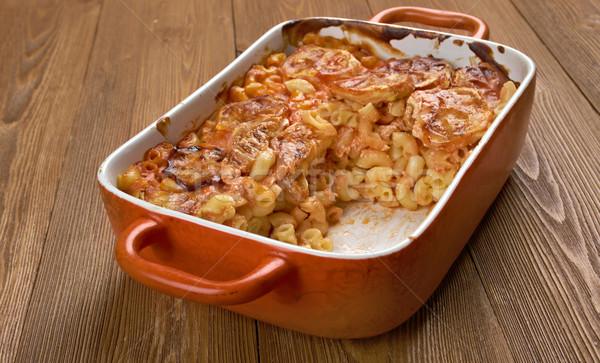Elbow macaroni bake with zucchini Stock photo © fanfo
