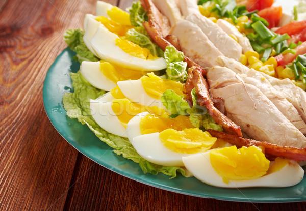 Stock fotó: Saláta · színes · főfogás · szalonna · tyúk · főtt
