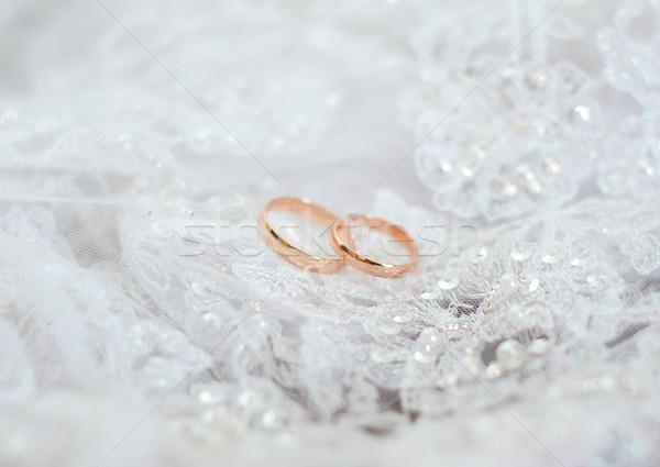 обручальными кольцами свадьба золото подарок Jewel Сток-фото © fanfo