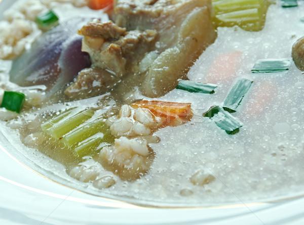 árpa leves közelkép étel zöld vacsora Stock fotó © fanfo