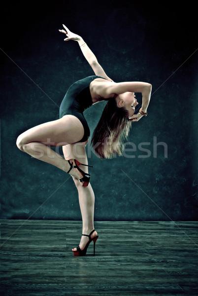 Stile moderno ballerino posa grigio donna fitness Foto d'archivio © fanfo